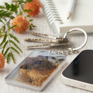 marmot portrait Single-Sided rectangular acrylic keychain