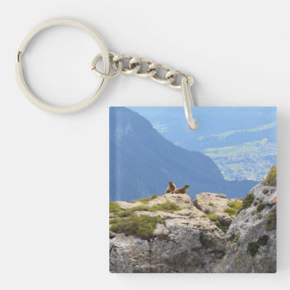 Marmots and Fassa Valley Single-Sided Square Acrylic Keychain