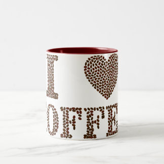 "Maroon 11 oz Two-Tone Mug ""I Heart Coffee"""