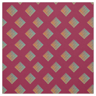 Maroon Abstract Squares Fabric