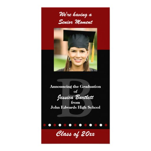 Maroon and Black Graduation Announcement Picture Card