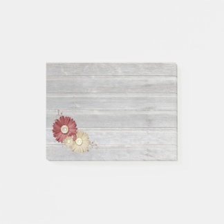 Maroon and Cream Flowers Faded Wood Post-it Notes