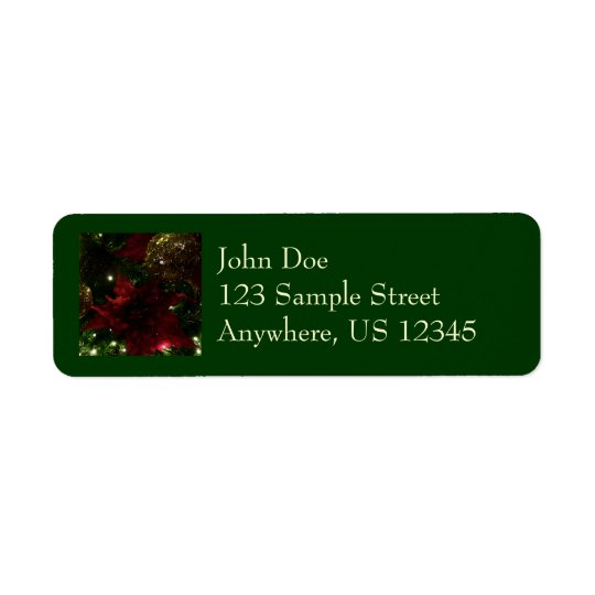 Maroon and Gold Christmas Tree Holiday Photo Return Address Label