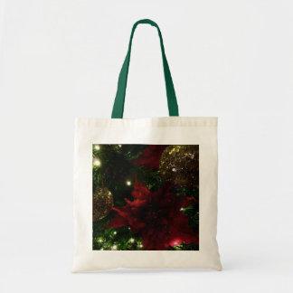 Maroon and Gold Christmas Tree Holiday Photo Tote Bag