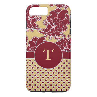Maroon and Gold Damask Monogram iPhone 7 Plus Case