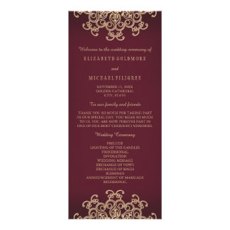 Maroon and Gold Indian Inspired Wedding Program