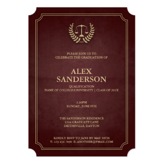 Maroon and Gold Law School Graduation Card