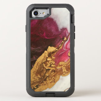 Maroon and Gold  Marble OtterBox Defender iPhone 8/7 Case
