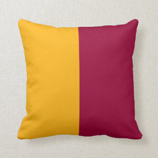 Maroon and Gold Split Color Throw Pillow