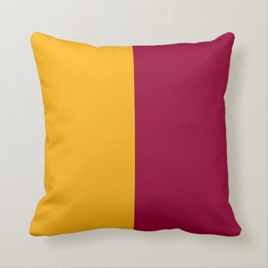 Maroon and Gold Split Colour Throw Pillow