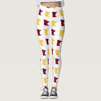Maroon and Gold State of Minnesota Pattern Leggings