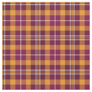 Maroon and Orange Sporty Plaid Fabric