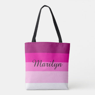 Maroon and Pink Layers Personalized Name Tote Bag