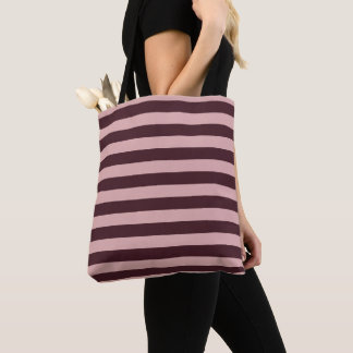 Maroon and Pink Stripes Tote Bag