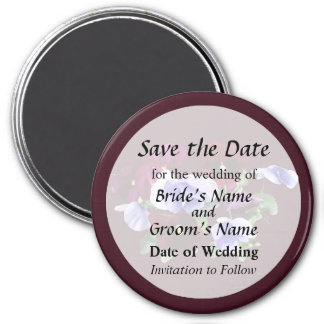 Maroon And Purple Pansies Save the Date 3 Inch Round Magnet