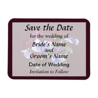 Maroon And Purple Pansies Save the Date Rectangular Photo Magnet