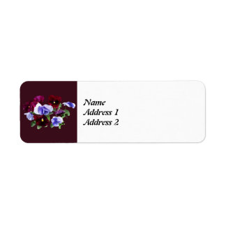 Maroon And Purple Pansies Save the Date Return Address Label