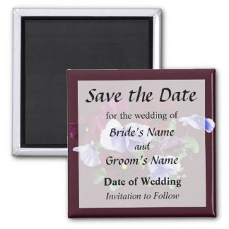 Maroon And Purple Pansies Save the Date Square Magnet