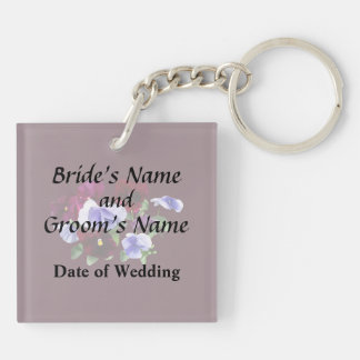 Maroon And Purple Pansies Wedding Products Keychain