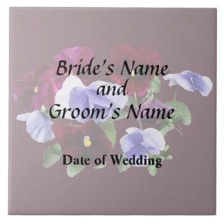 Maroon And Purple Pansies Wedding Products Tile