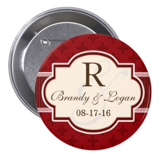 Maroon and Red Retro Wedding Pinback Button