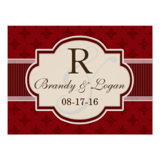 Maroon and Red Retro Wedding Poster