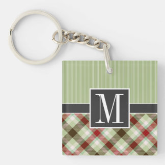 Maroon and Sage Green Plaid Square Acrylic Key Chains