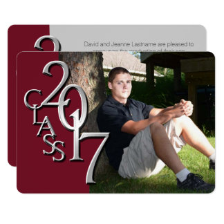Maroon and Silver 2017 Graduation Invitation