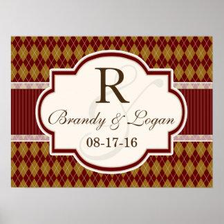 Maroon and Tan Retro Argyle Wedding Poster