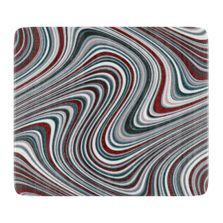 Maroon and Teal Blue Abstract Curvy Shapes Cutting Board
