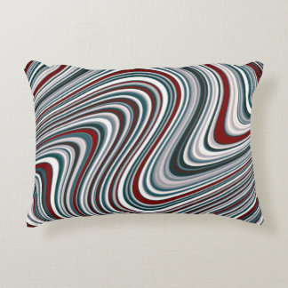 Maroon and Teal Blue Abstract Curvy Shapes Decorative Pillow