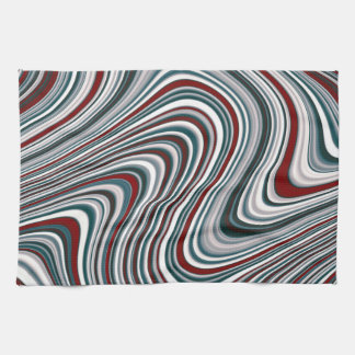 Maroon and Teal Blue Abstract Curvy Shapes Kitchen Towel