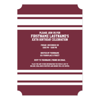 """Maroon and White Jersey Stripes Custom Name Number 5"""" X 7"""" Invitation Card"""