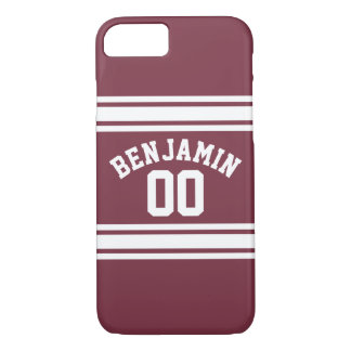 Maroon and White Jersey Stripes Custom Name Number iPhone 7 Case