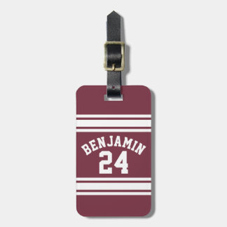 Maroon and White Jersey Stripes Custom Name Number Luggage Tag