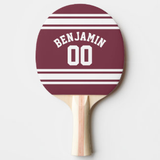 Maroon and White Jersey Stripes Custom Name Number Ping Pong Paddle
