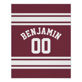 Maroon and White Jersey Stripes Custom Name Number Poster