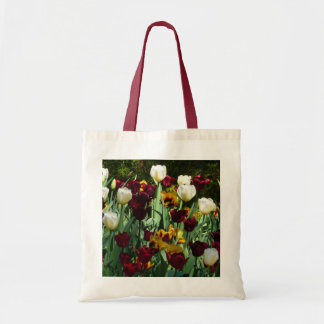 Maroon and Yellow Tulips Colorful Floral Tote Bag