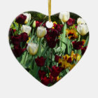 Maroon and Yellow Tulips Colourful Floral Ceramic Ornament