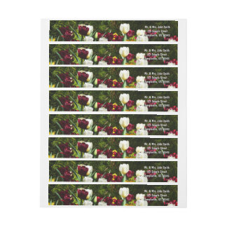 Maroon and Yellow Tulips Wrap Around Label