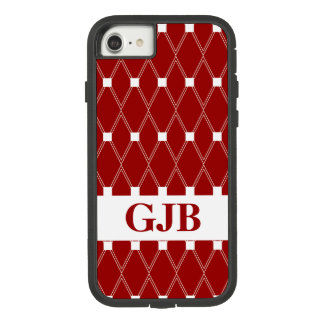 Maroon Argyle Lattice with monogram Case-Mate Tough Extreme iPhone 8/7 Case