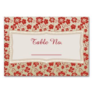 Maroon & Beige Flowers Table Cards