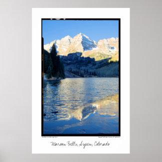 Maroon Bells in Ice on Stream, Aspen, Colorado Poster