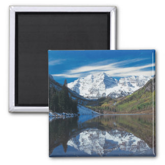 Maroon Bells in White River National Forest in Square Magnet