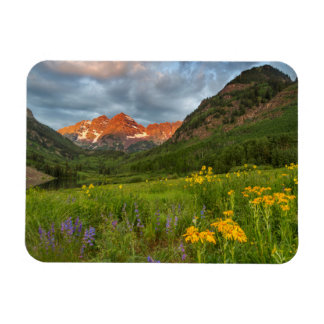 Maroon Bells Reflect Into Calm Maroon Lake Rectangular Photo Magnet
