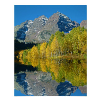 Maroon Bells With Aspens Poster
