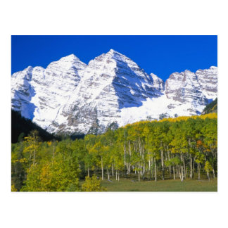 Maroon Bells with autumn aspen forest. Postcard