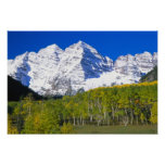 Maroon Bells with autumn aspen forest. Poster