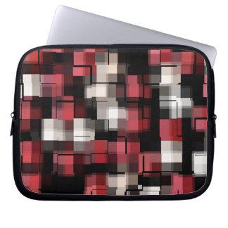 Maroon Black White Abstract Plaid Laptop Sleeve