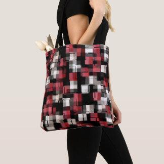 Maroon Black White Abstract Plaid Tote Bag